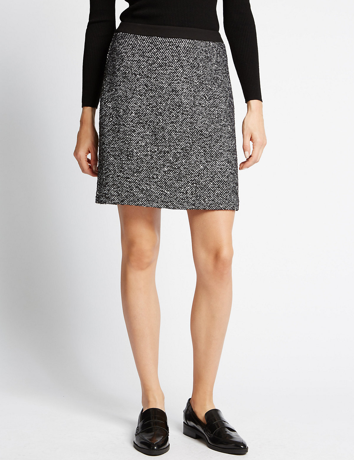 M&S Collection Tweed Mini Skirt With Wool
