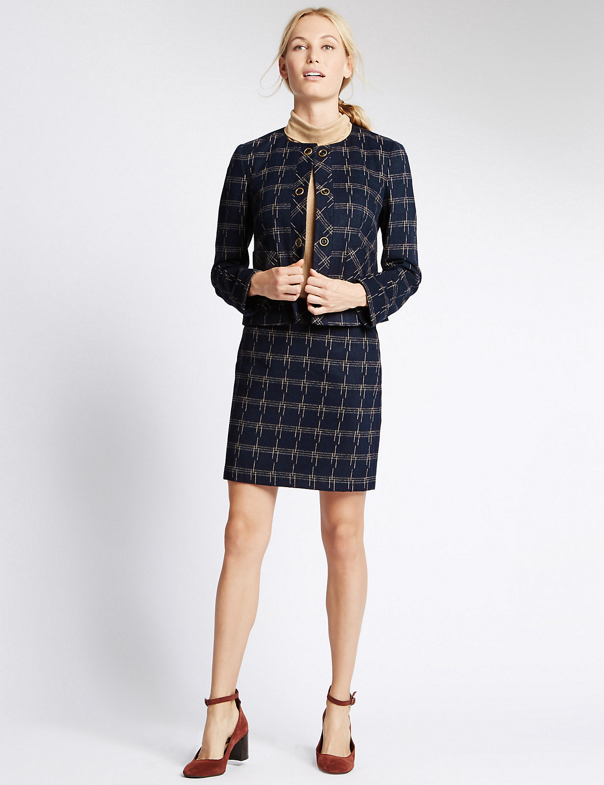 M&S Collection Checked Jacket with Wool