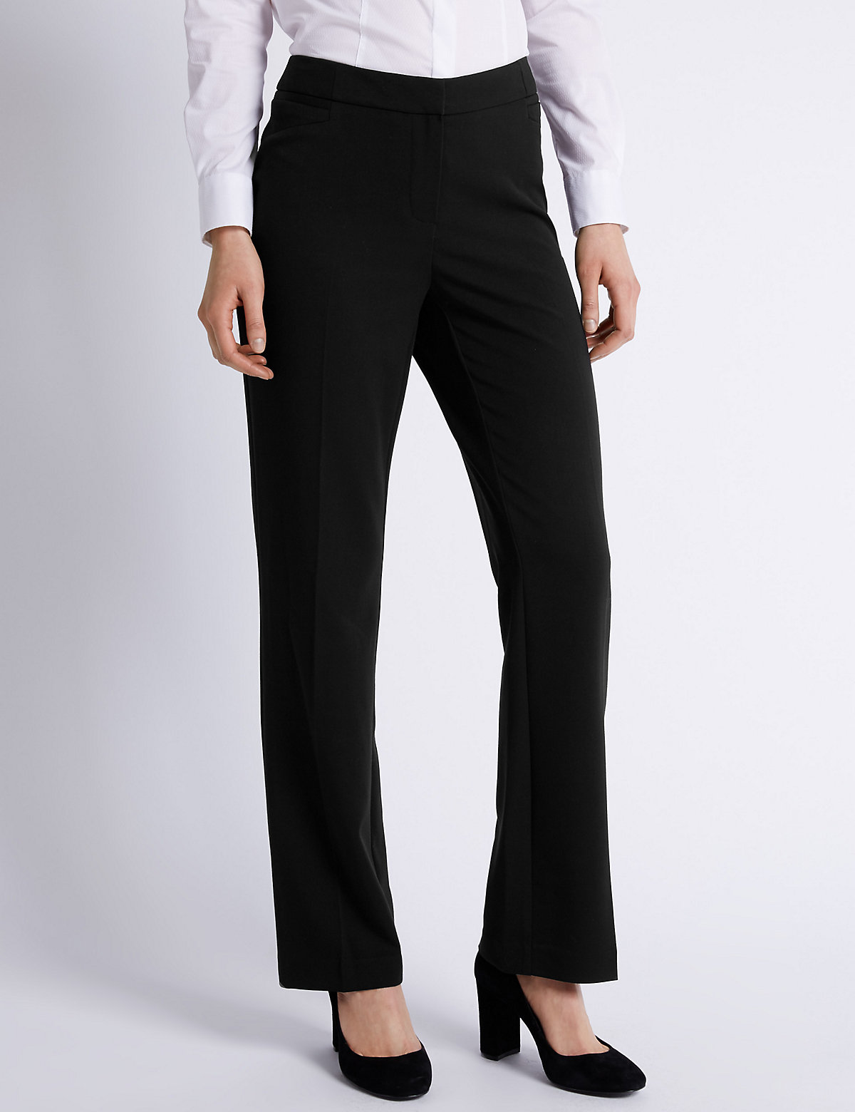 M&S Collection Staggered Seam Straight Leg Trousers