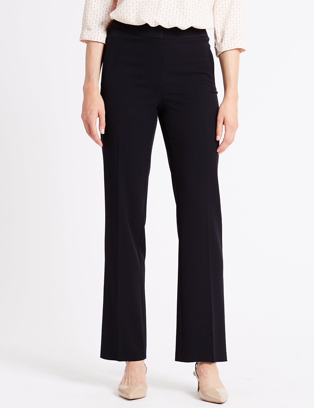 M&S Collection 4-Way Stretch Straight Leg Trousers with Buttonsafe