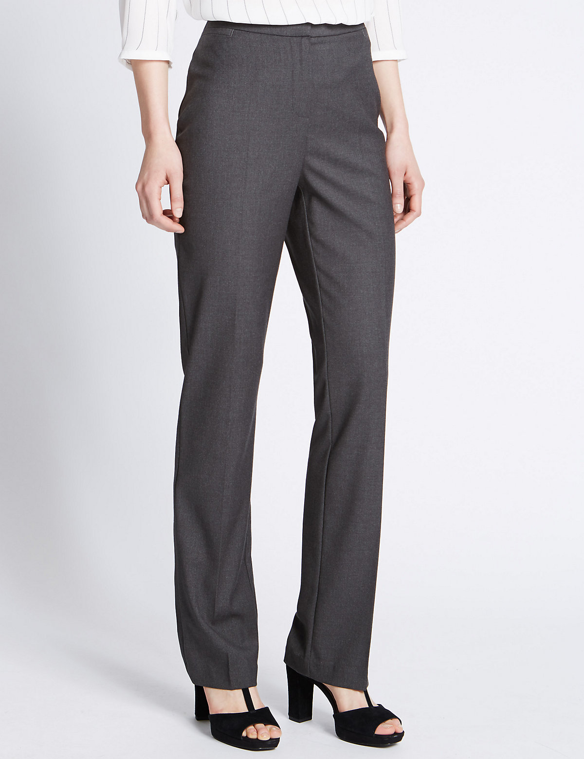 M&S Collection Flat Front Straight Leg Trousers