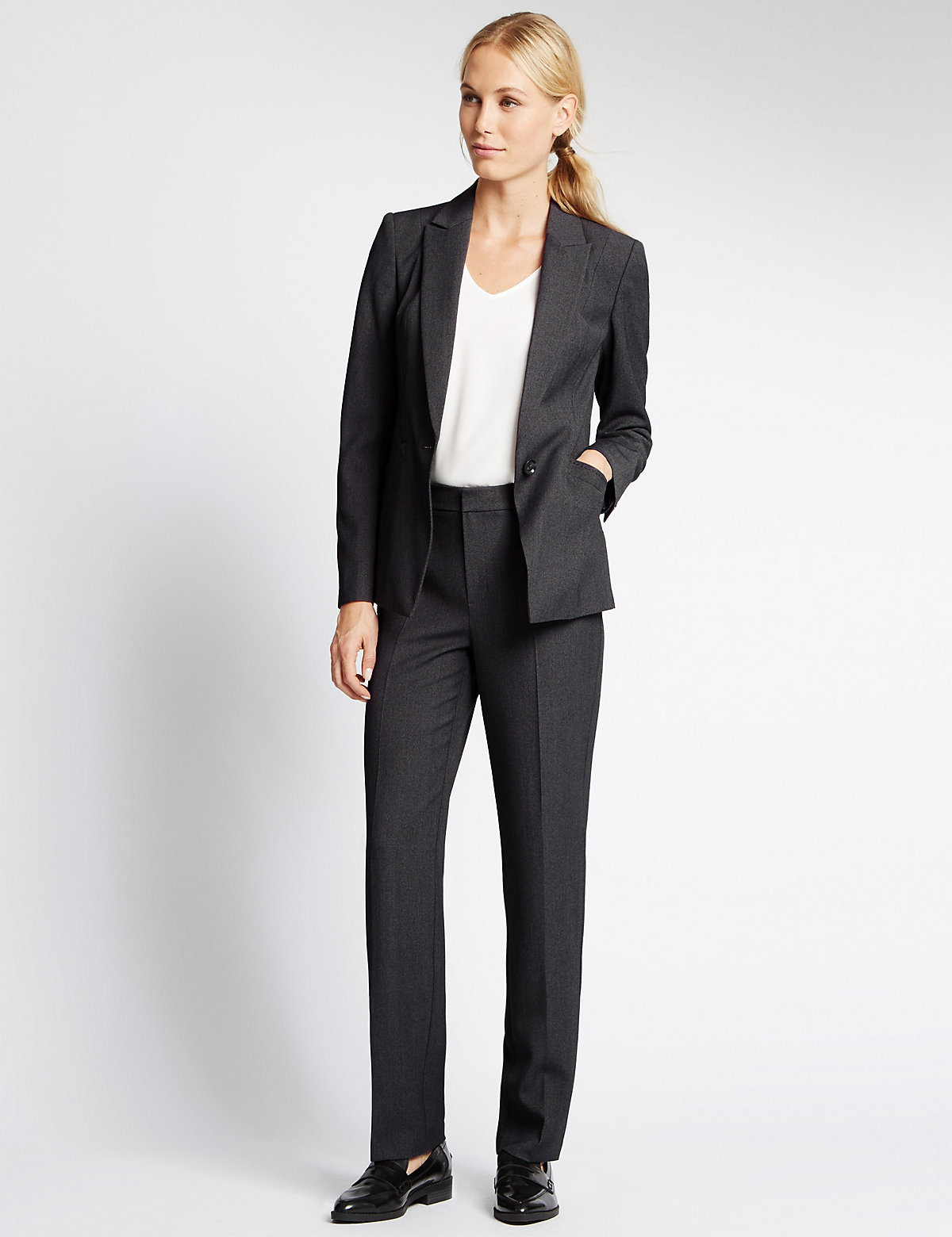M&S Collection 4 Way Stretch Straight Leg Trousers