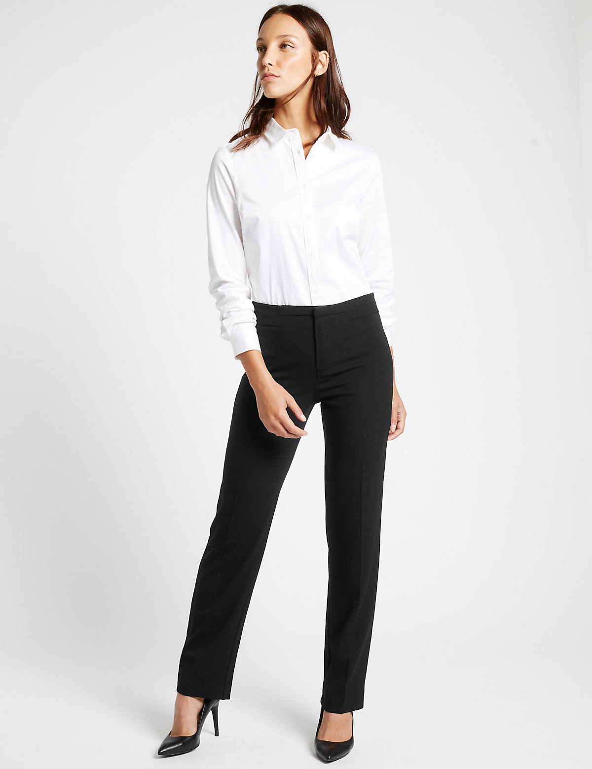 MS Collection Straight Leg Trousers Marks and Spencer P22481556