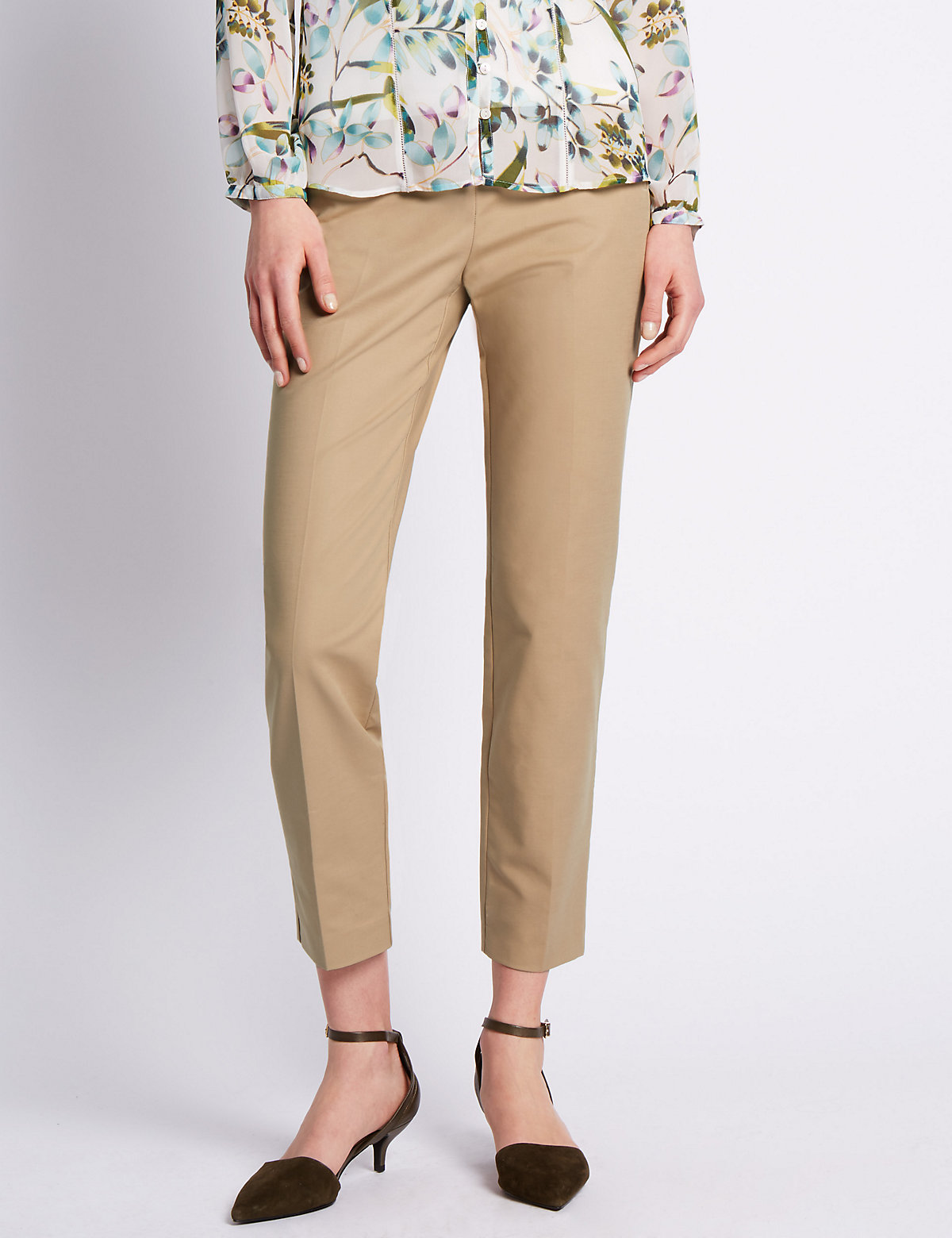 Per Una Roma Rise Cotton Rich Ankle Grazer Trousers