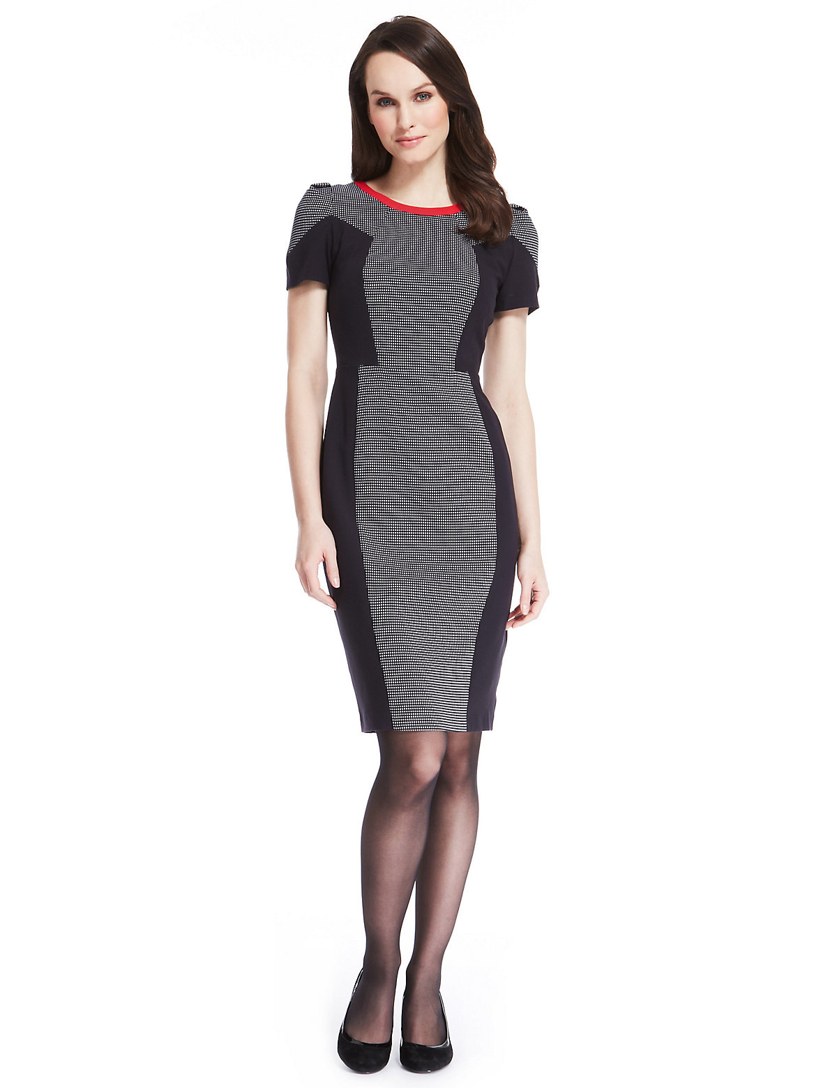 M & S Collection Contrast Panelled Grid Shift Dress