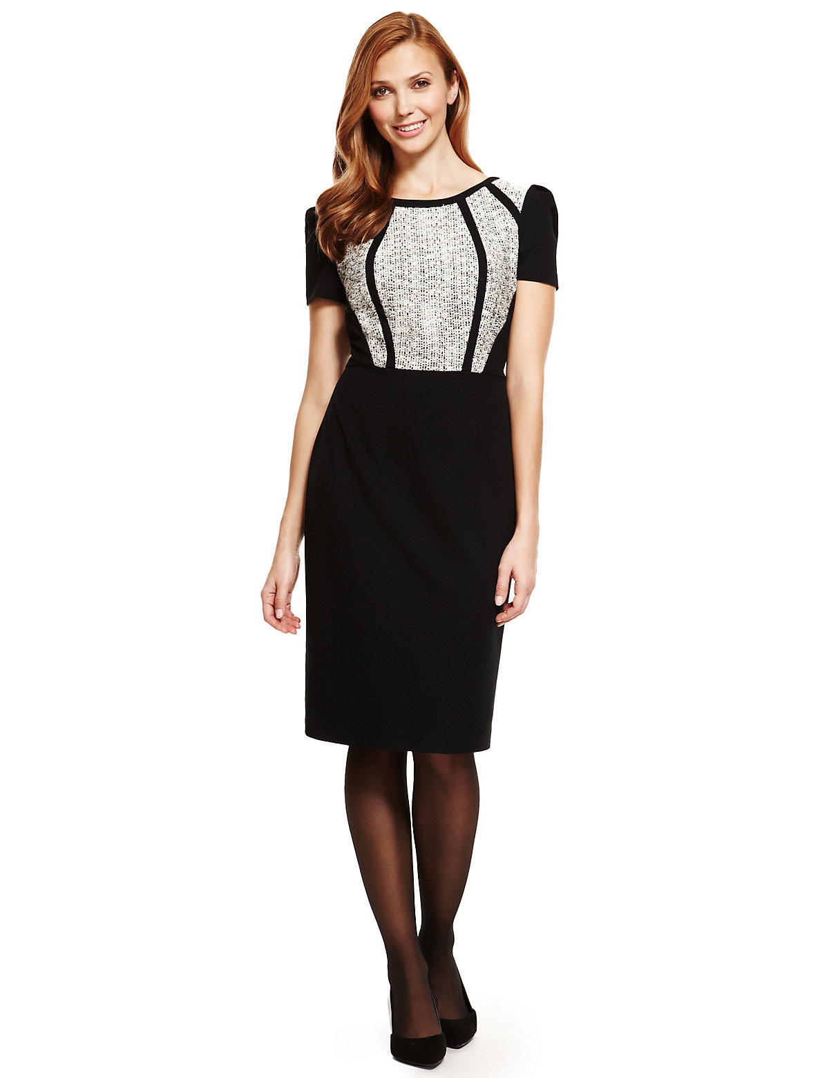 M & S Collection Textured Bodice Tweed Block Shift Dress