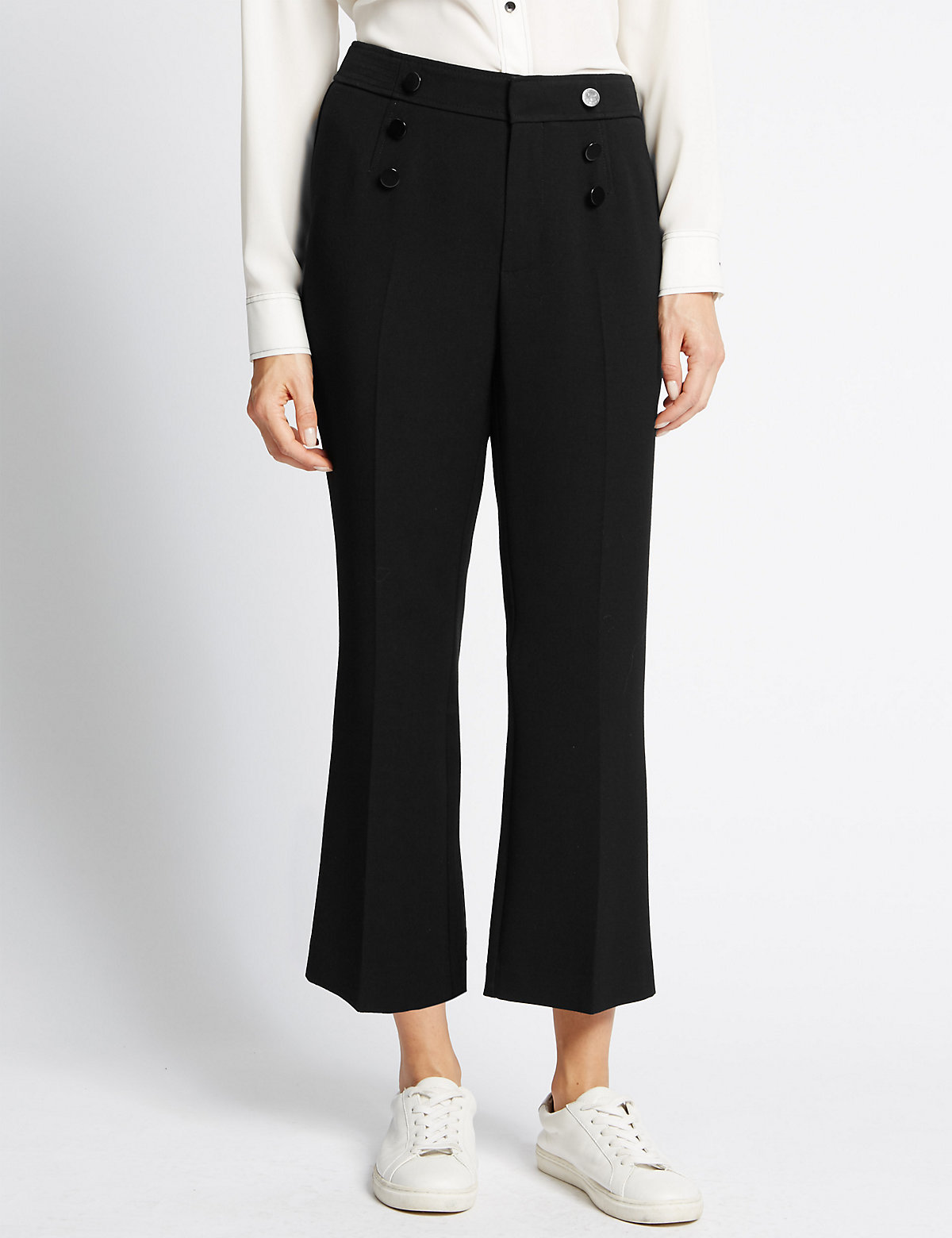 M&S Collection Straight Leg Stitched Crop Flare Trousers