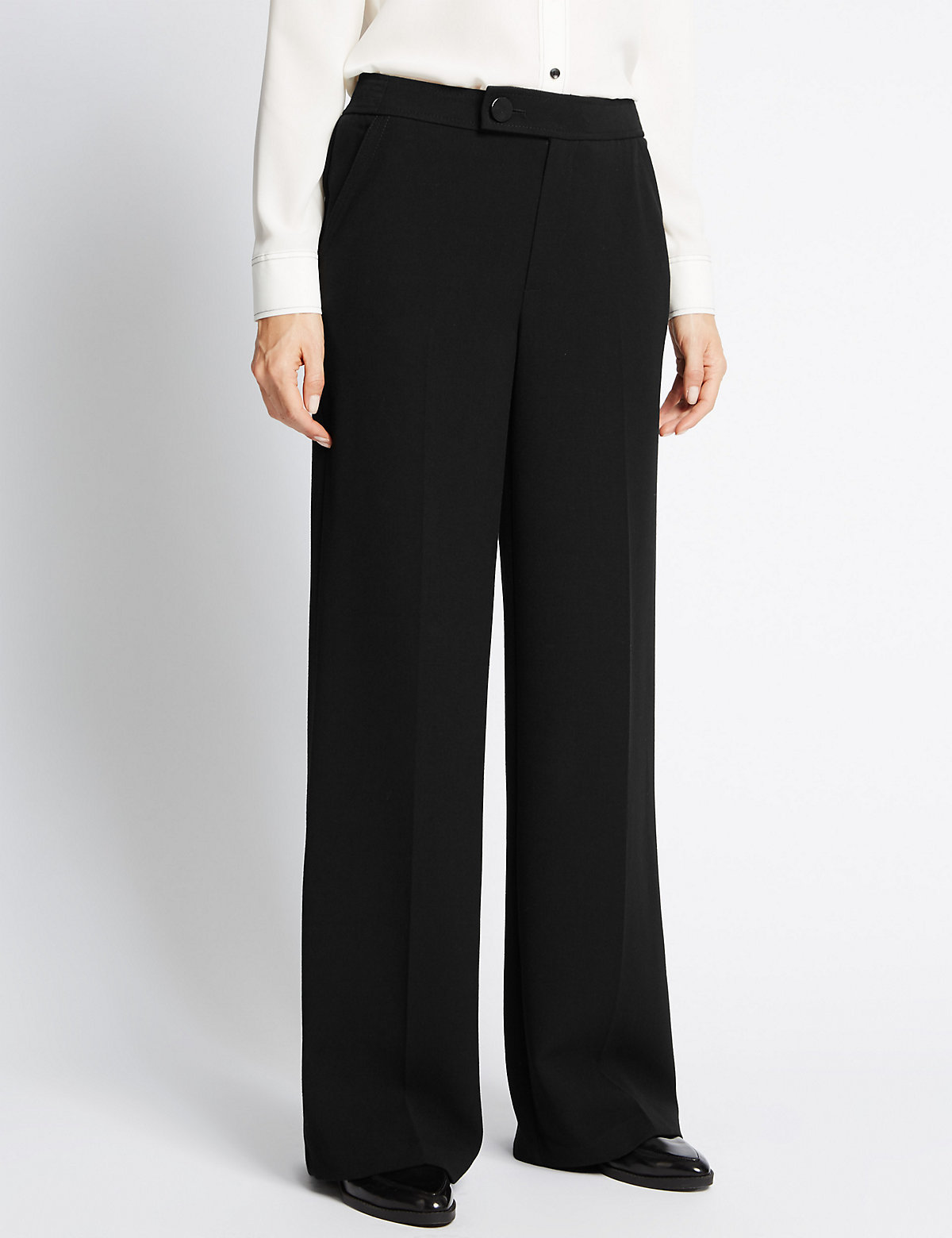 M&S Collection Stitched Wide Leg Trousers