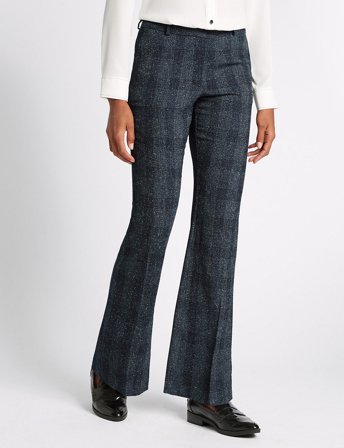 M&S Collection Textured Slim Bootcut Trousers