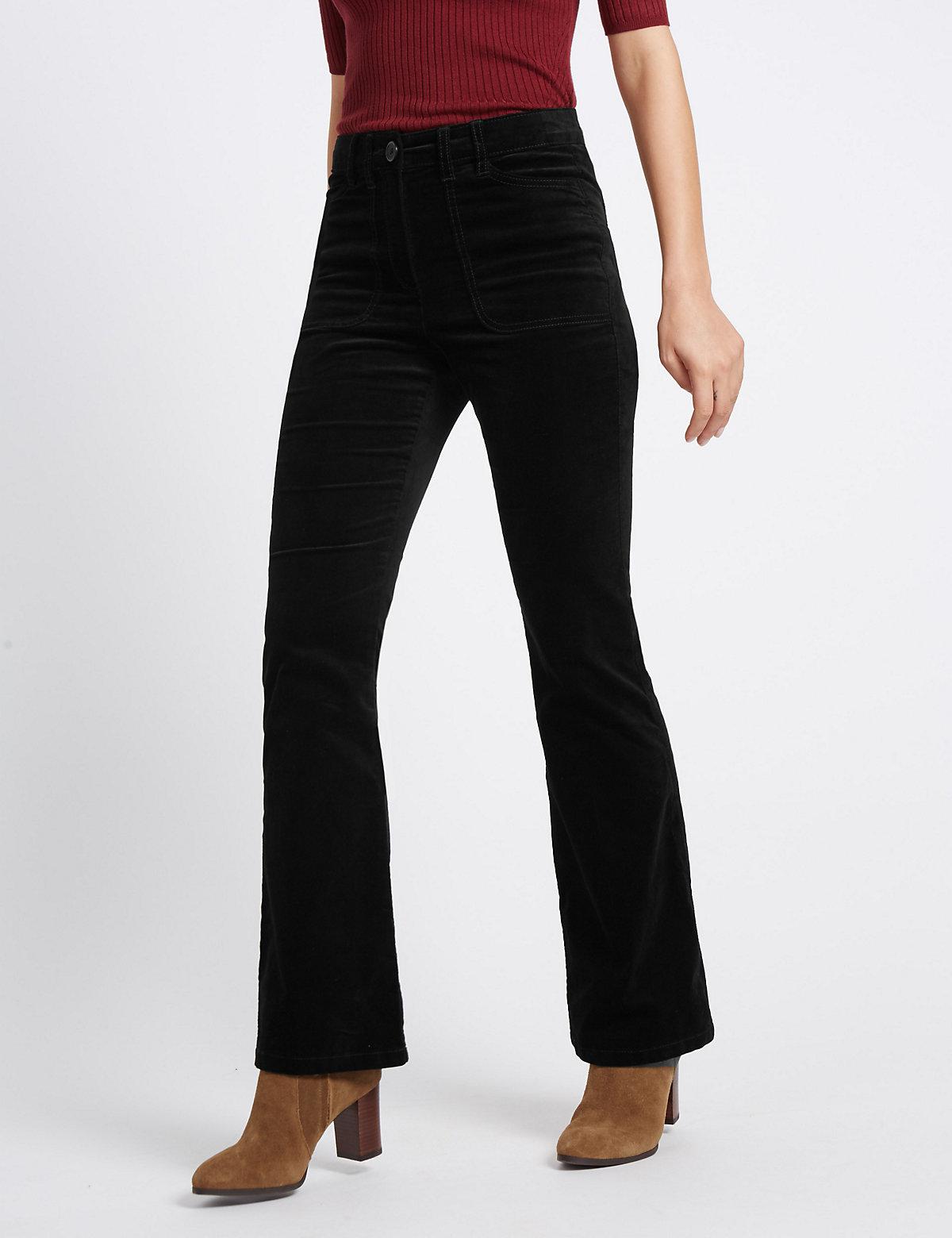 M&S Collection Velvet Slim Boot Leg Trousers