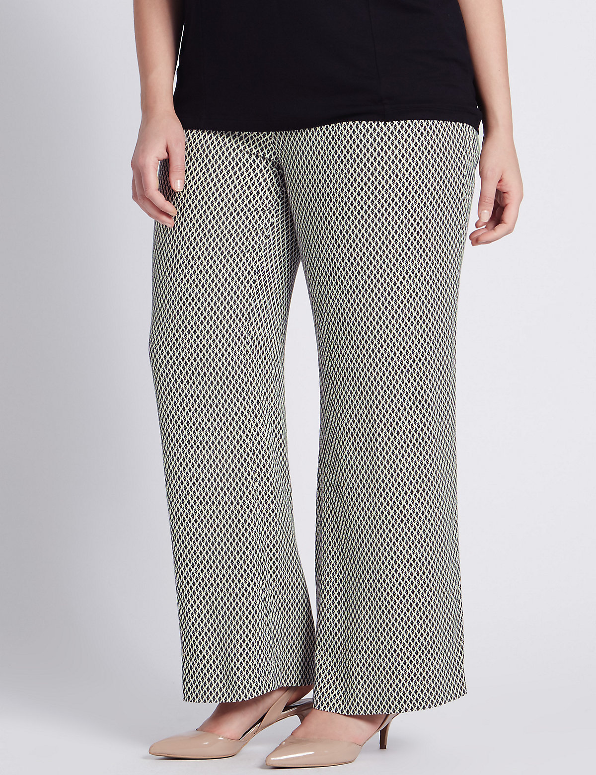 M&S Collection PLUS Mini Geometric Print Wide Leg Trousers