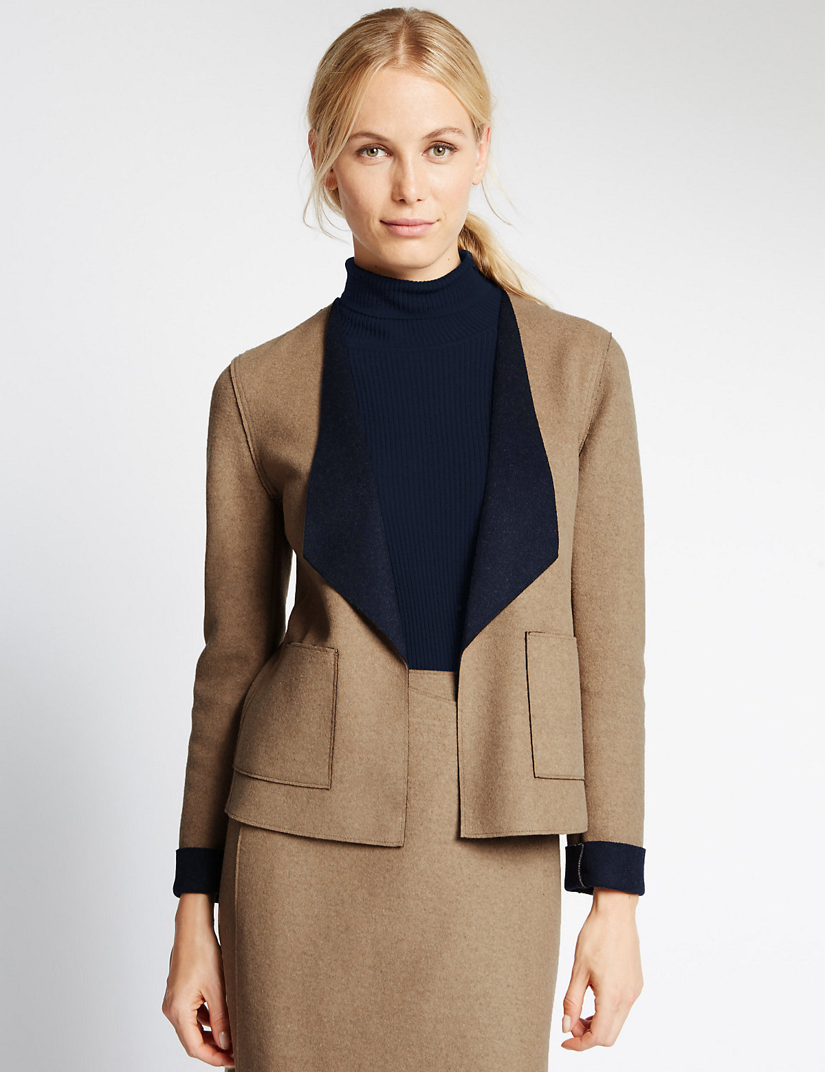 M&S Collection Double Face Jacket With Wool