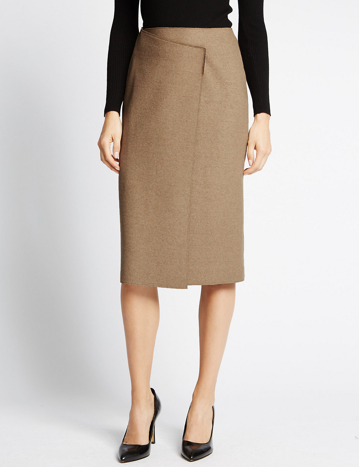 M&S Collection Wrap Skirt With Wool