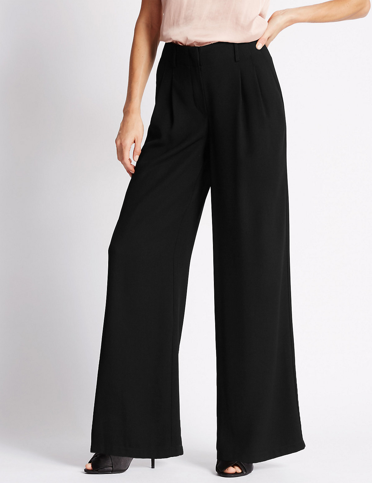M&S Collection Straight Leg Trousers with Buttonsafe