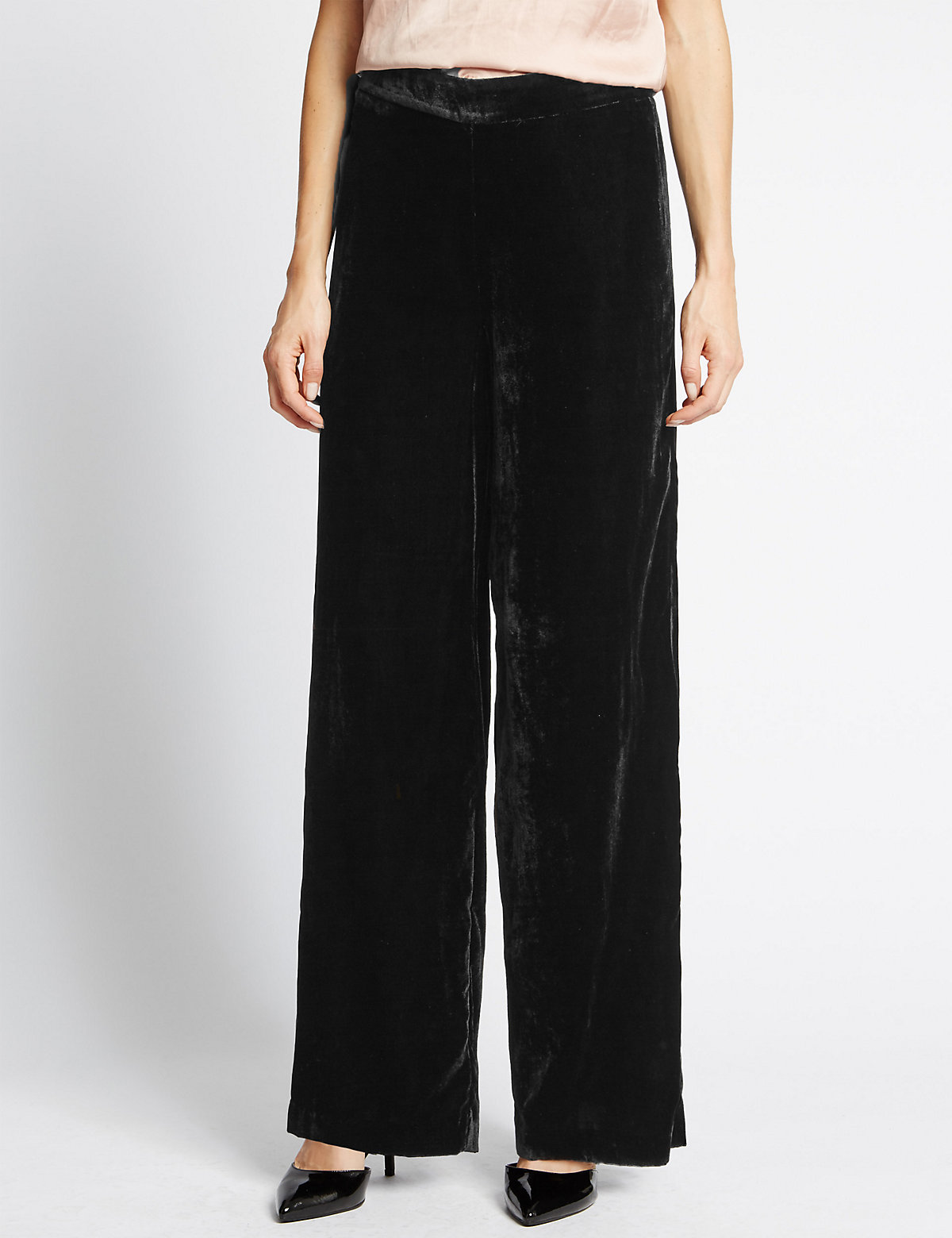 M&S Collection Soft Velvet Wide Leg Trousers