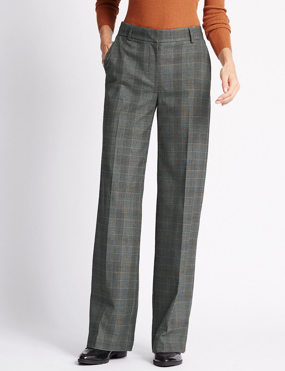 M&S Collection Wide Leg Checked Trousers