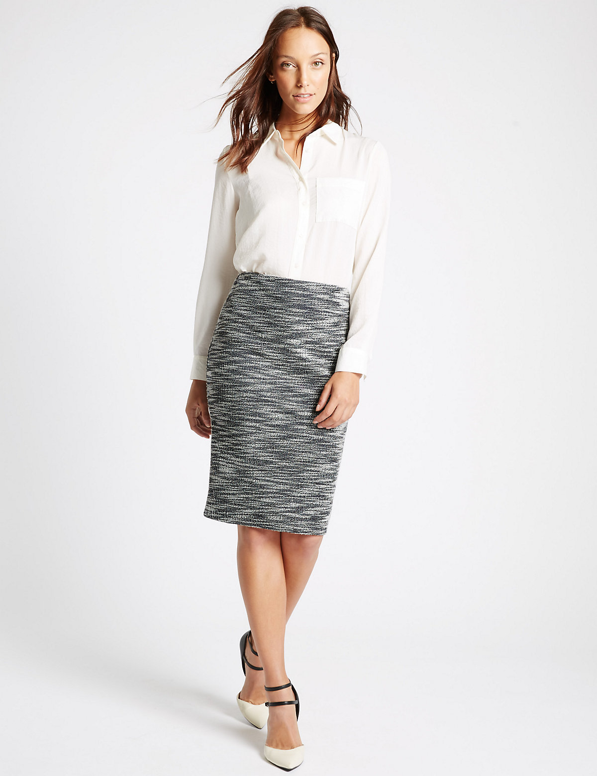 MS Collection Textured Tweed Pencil Skirt Marks and Spencer P22490355
