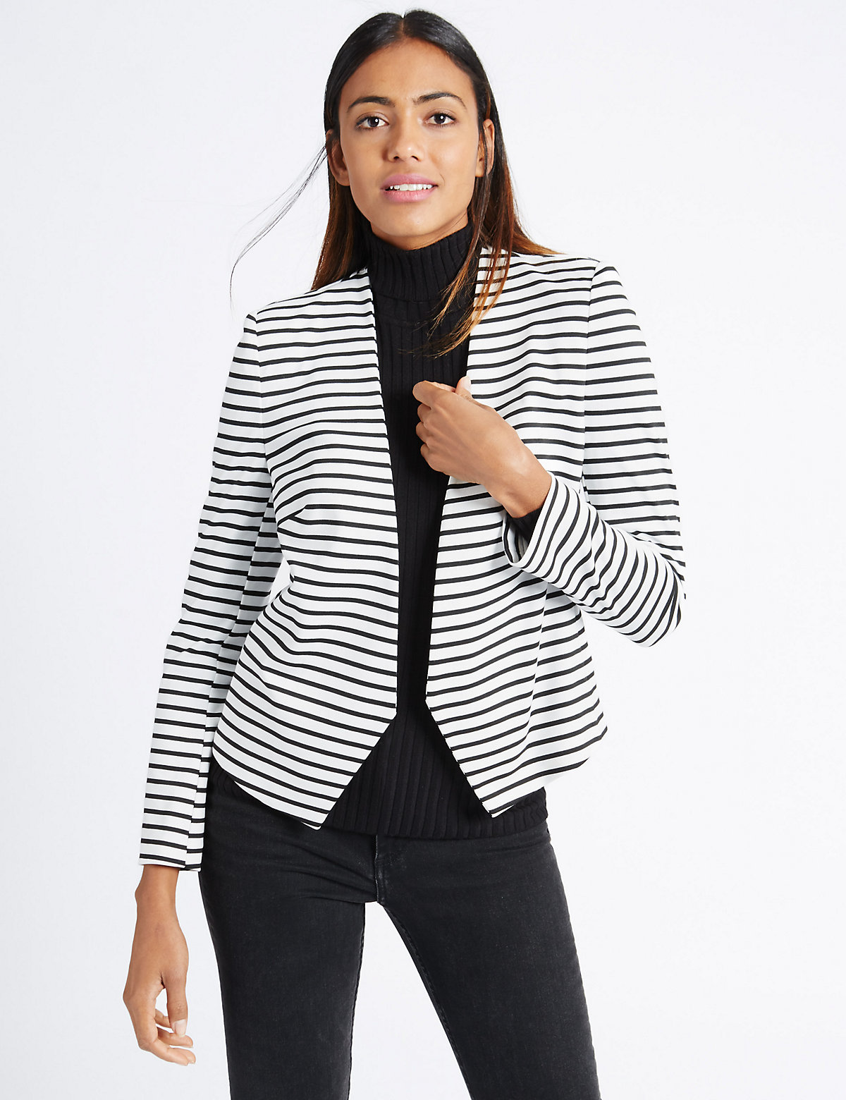 M&S Collection Striped Open Front Jacket