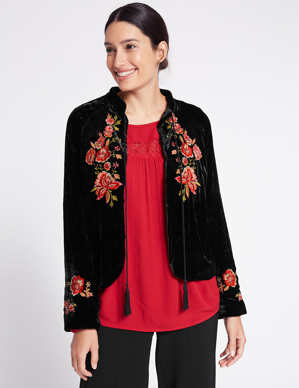 Per Una Drawstring Floral Embroidered Jacket