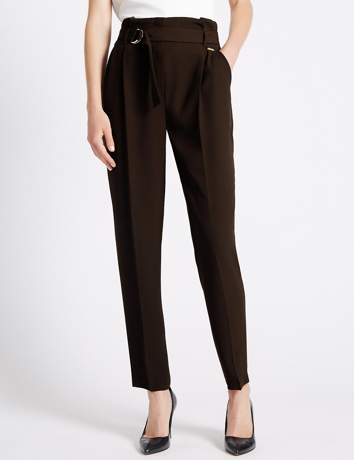 Per Una Roma Rise Paper Bag Tapered leg Trousers