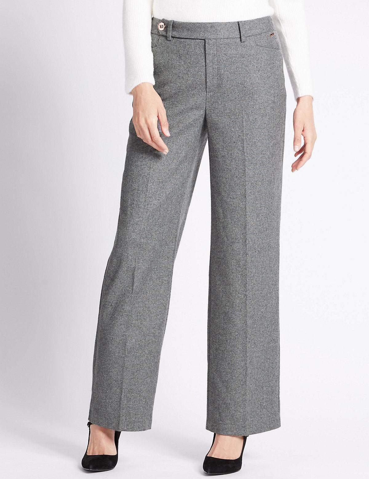 Per Una Wool Blend Wide Leg Trousers