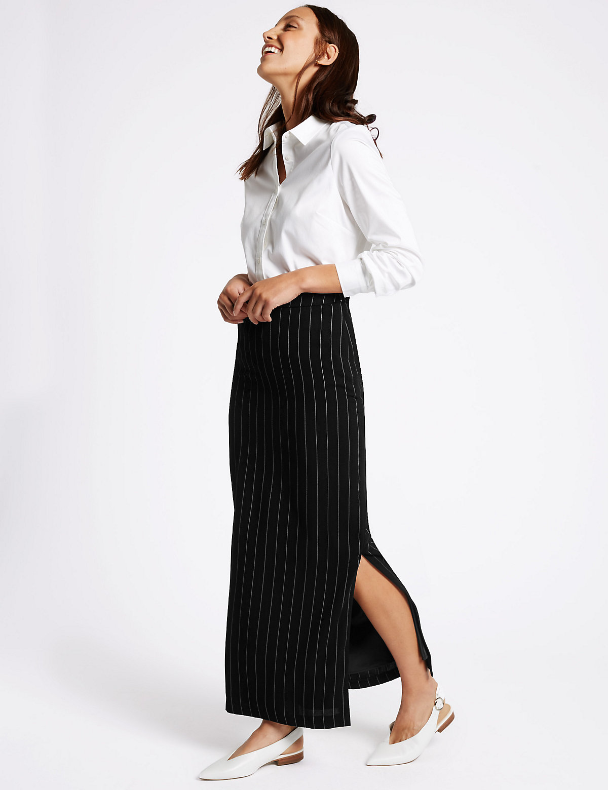 M&S Collection Striped Long Skirt