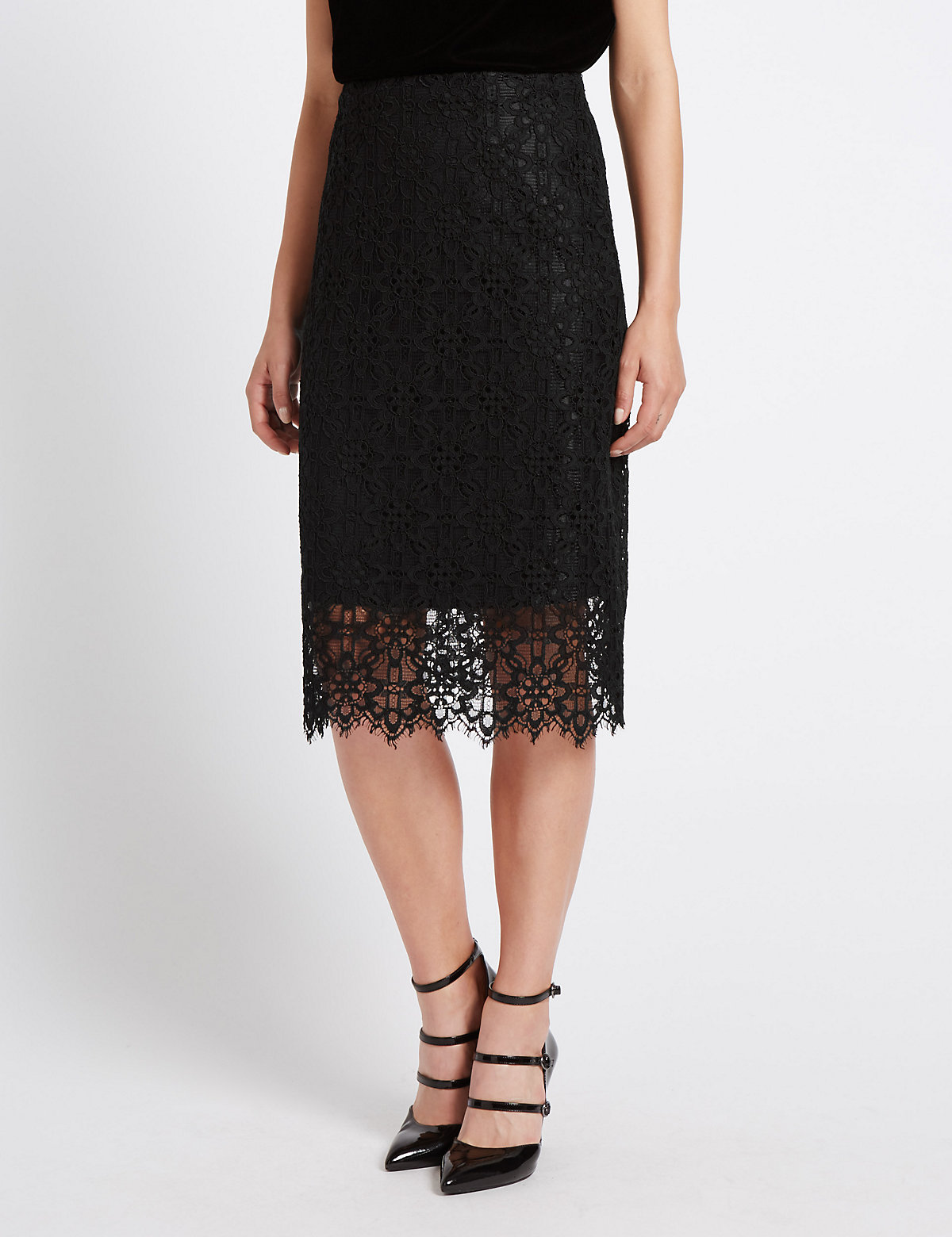 M&S Collection Lace Midi Skirt