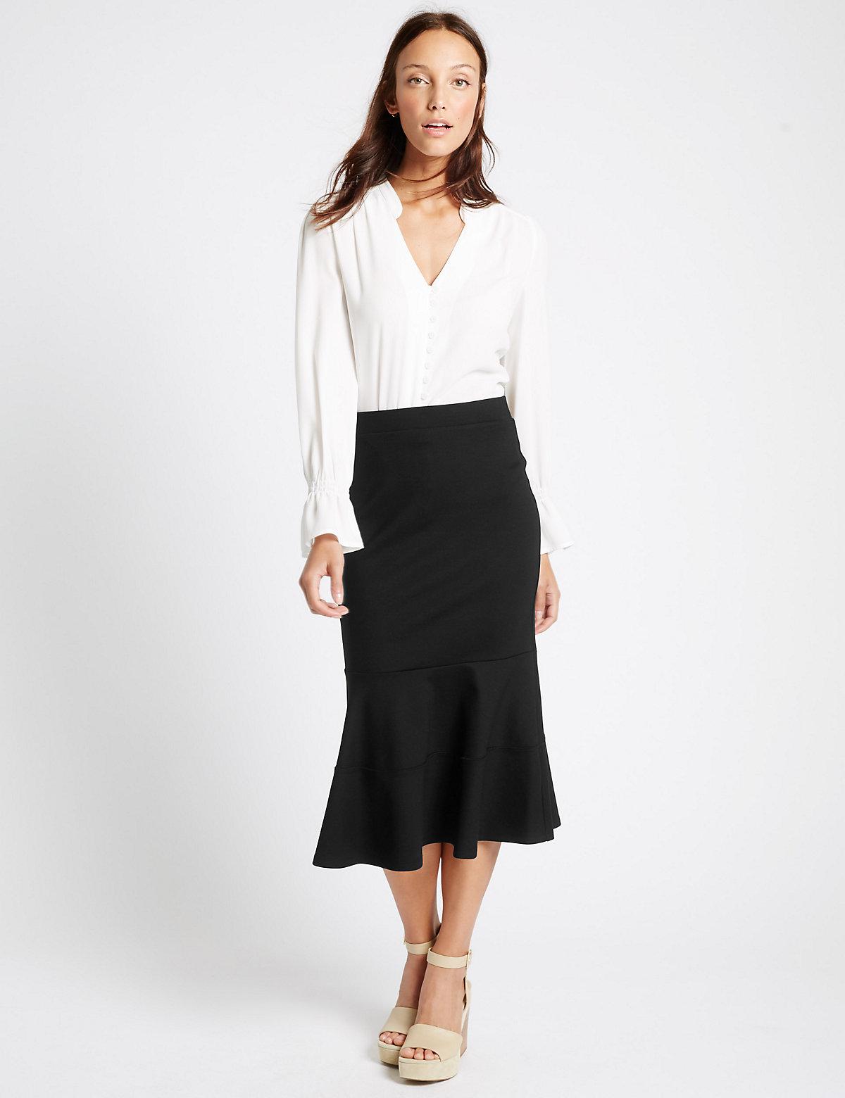 M&S Collection Peplum Hem ALine Midi Skirt