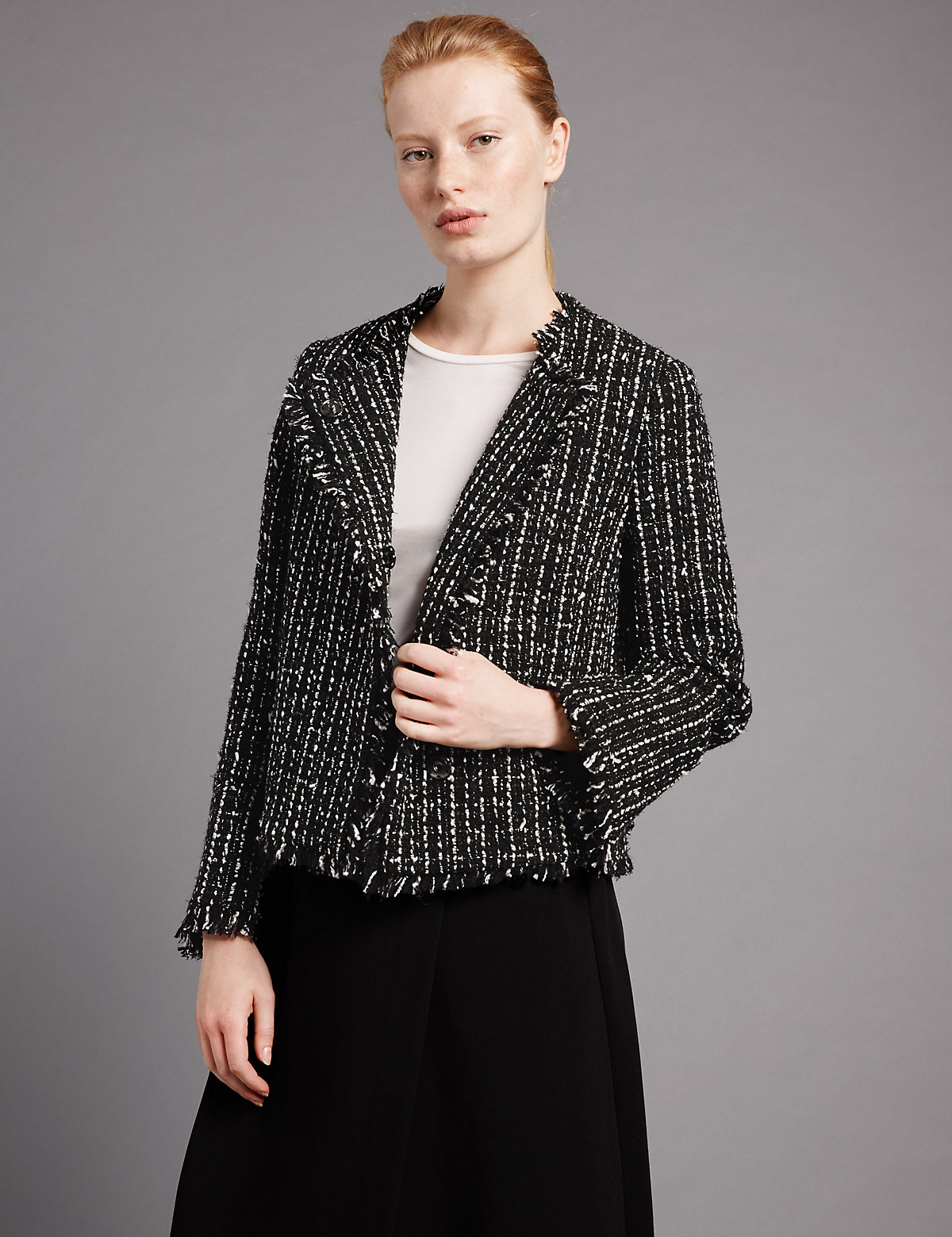 Autograph Linton Tweed Boxy Jacket with Wool