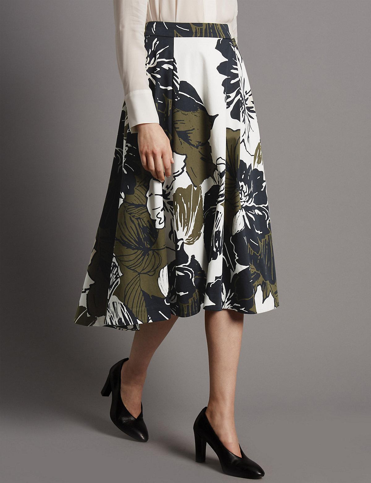 Autograph Floral Print A-Line Skirt