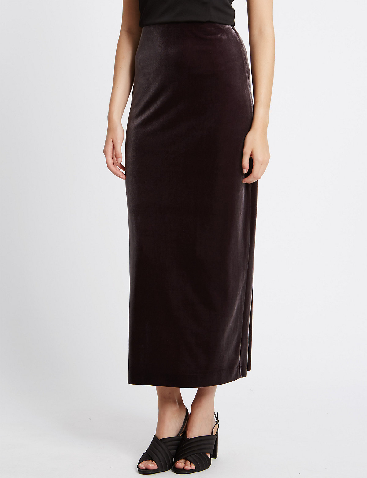 M&S Collection Velvet Column A-Line Skirt