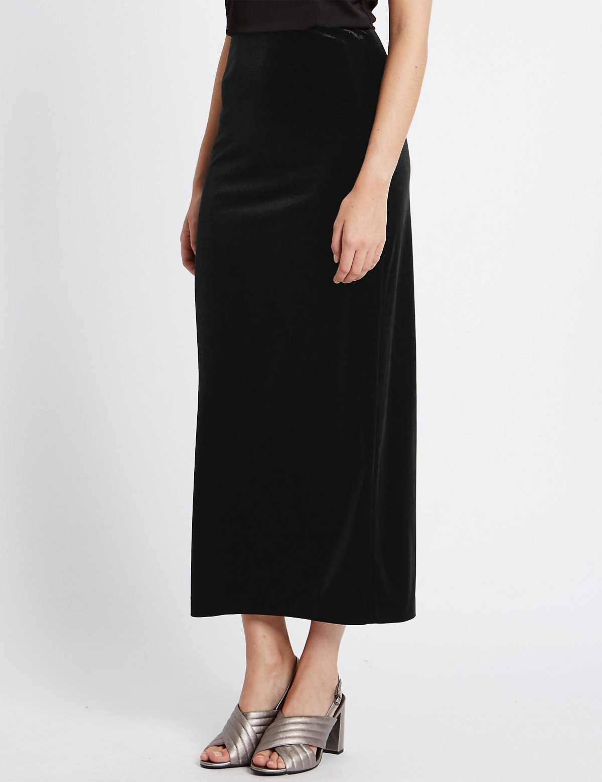 M&S Collection Velvet Column A-Line Skirt