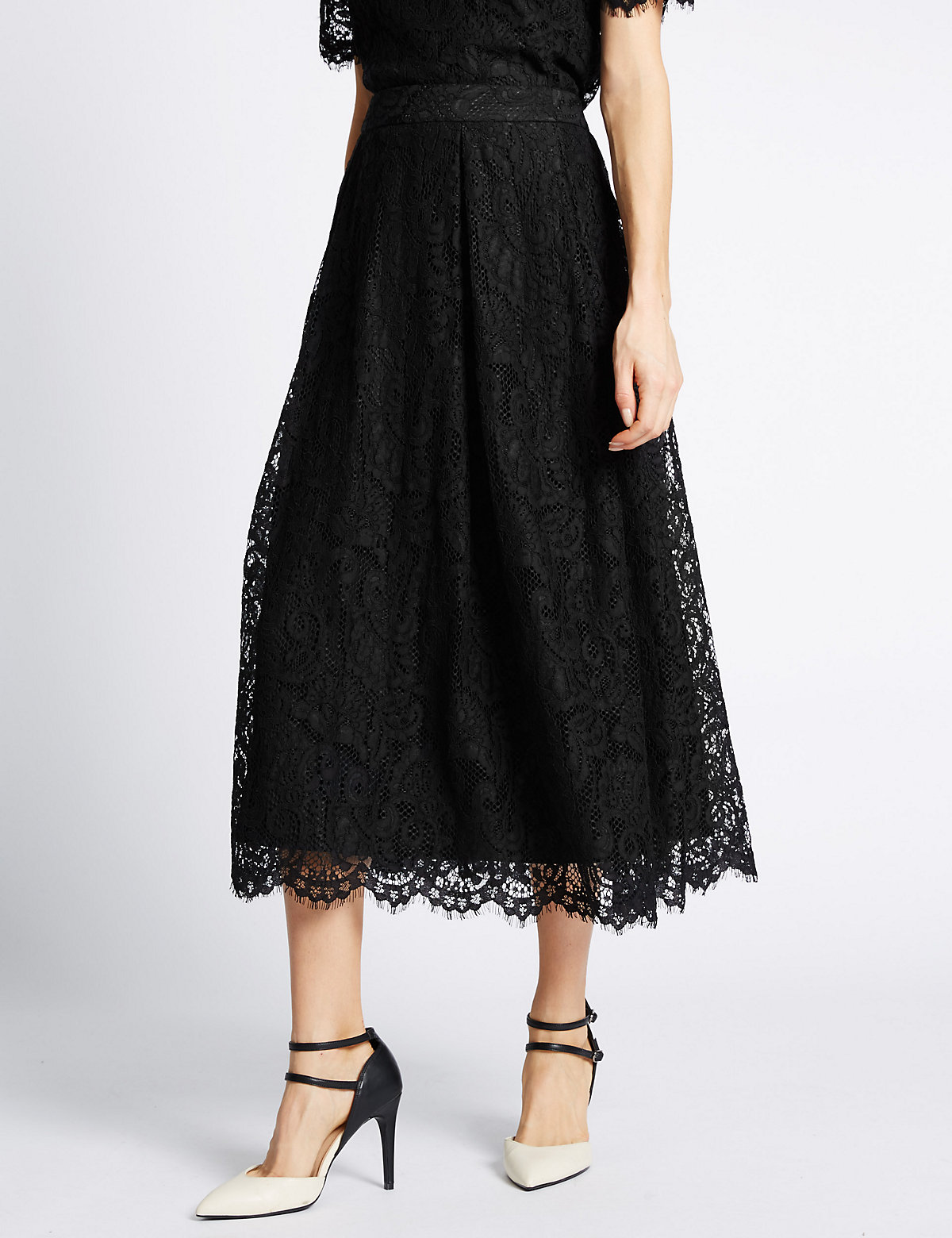MS Collection Cotton Blend Lace A Line Skirt Marks and Spencer P22497914