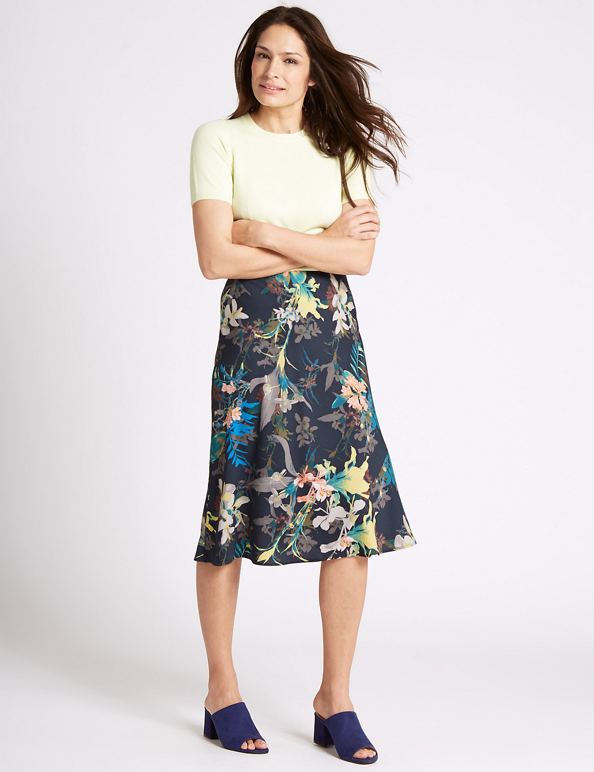 Classic Floral Print A Line Midi Skirt Marks and Spencer P22502441