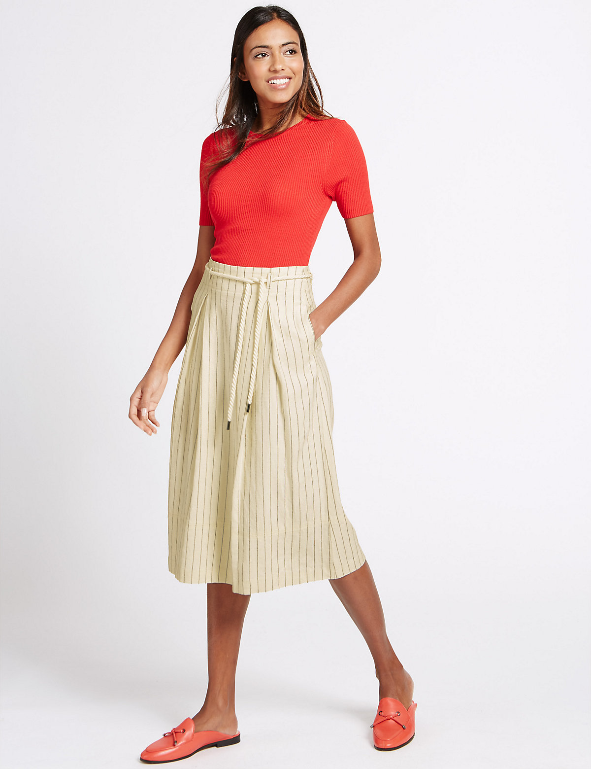MS Collection Linen Rich Belted A Line Midi Skirt Marks and Spencer P22502490