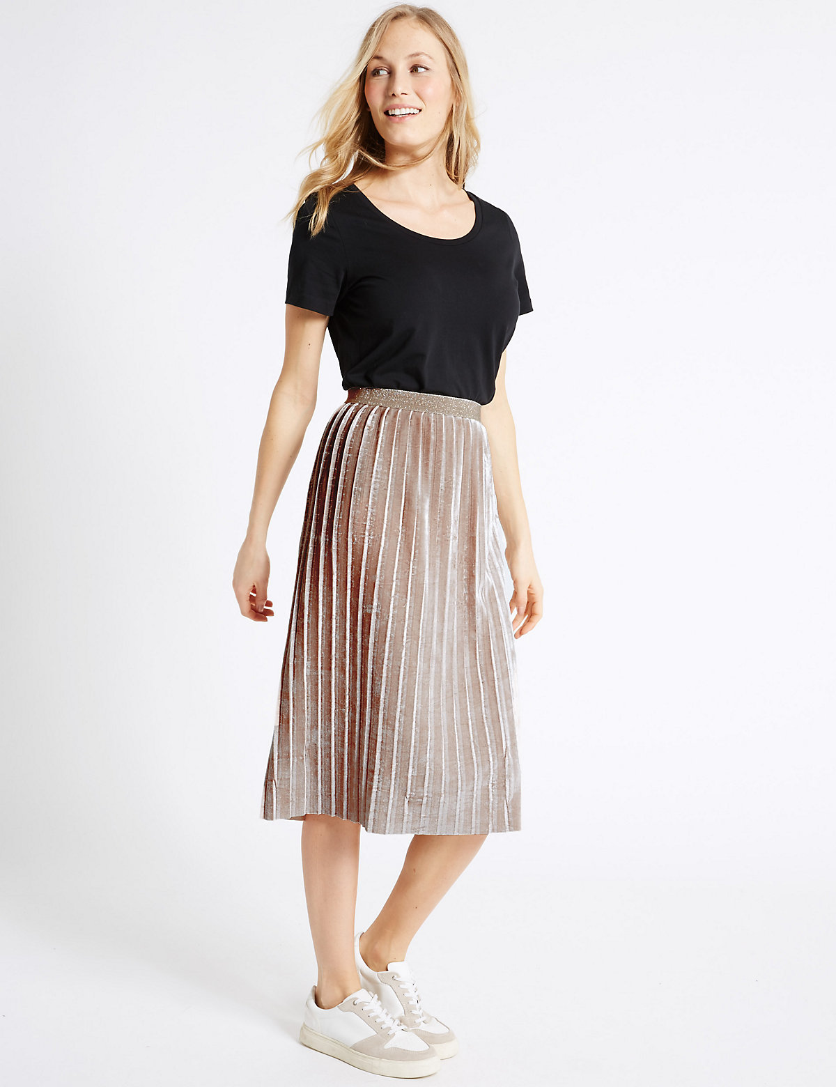 MS Collection Crushed Velvet Pleated A Line Midi Skirt Marks and Spencer P60107290