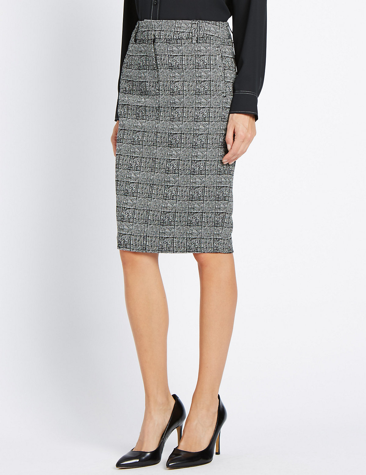 M&S Collection Welt Pocket Checked Knee Skirt