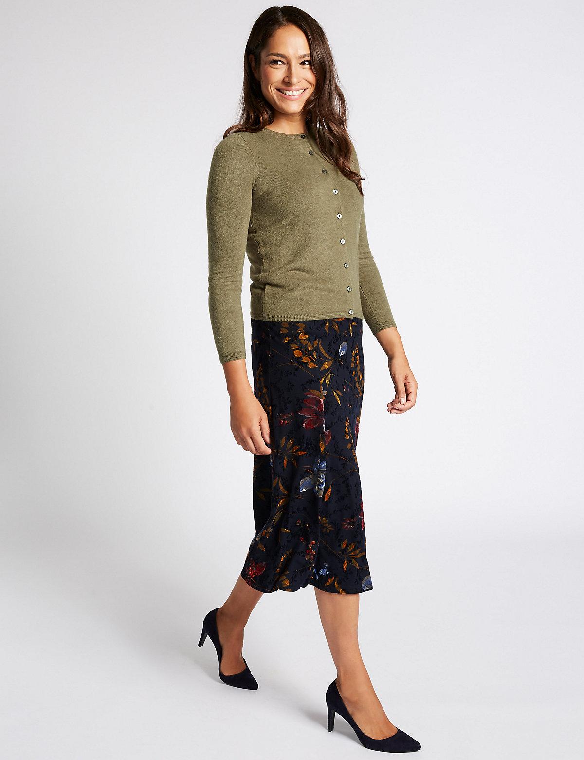 Classic Floral Print Flocked A-Line Midi Skirt