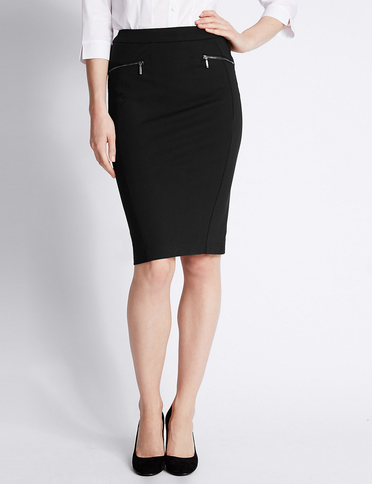 M&S Collection Zipped Pocket Pencil Skirt