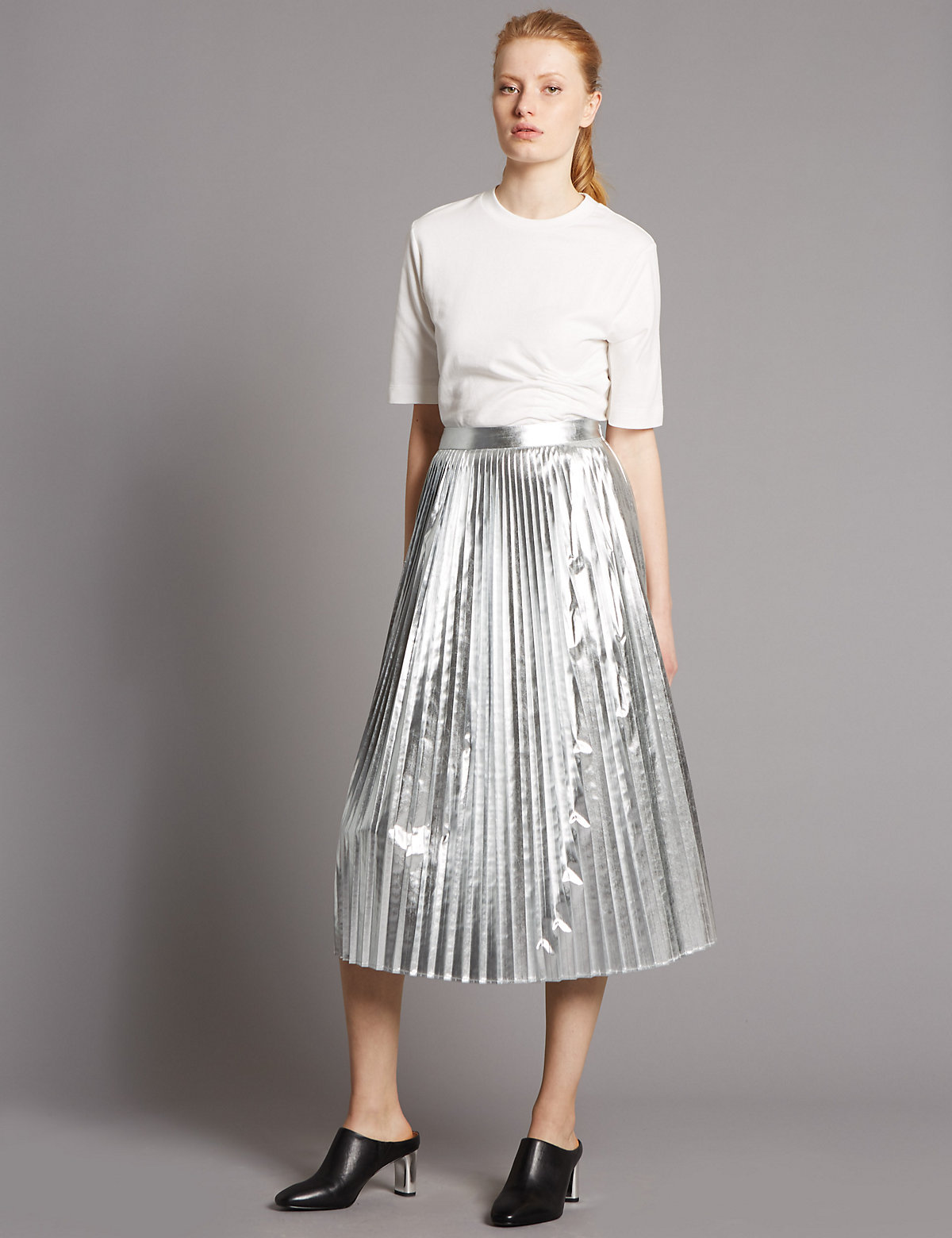 Autograph Metallic Pleated A Line Midi Skirt Marks and Spencer P22502436