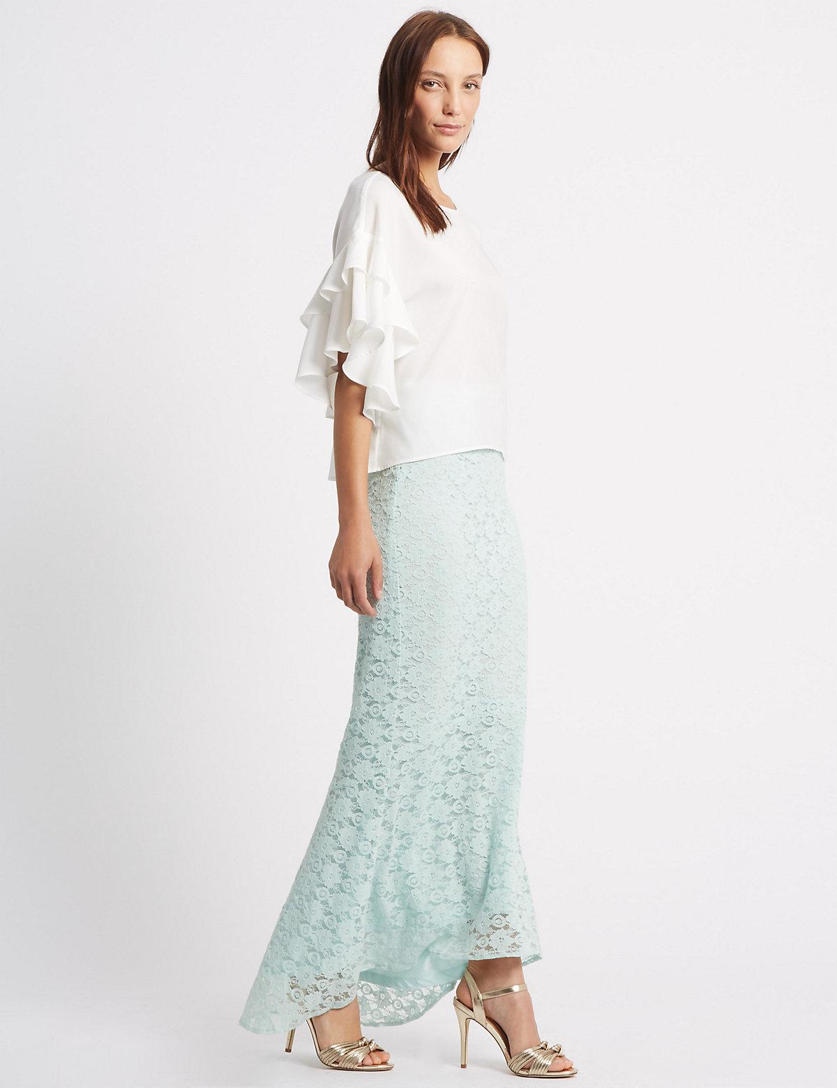 M&S Collection Fishtail Floral Lace Pencil Maxi Skirt