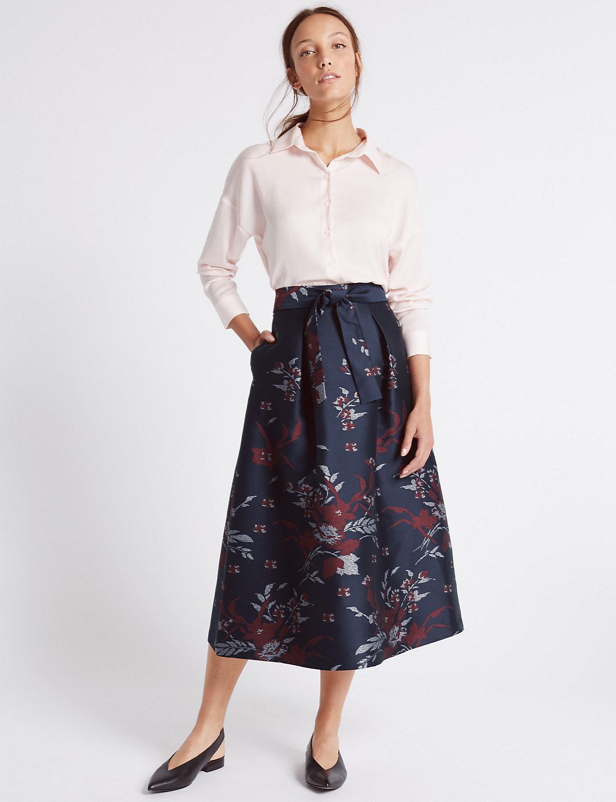 M&S Collection Floral Print ALine Skirt