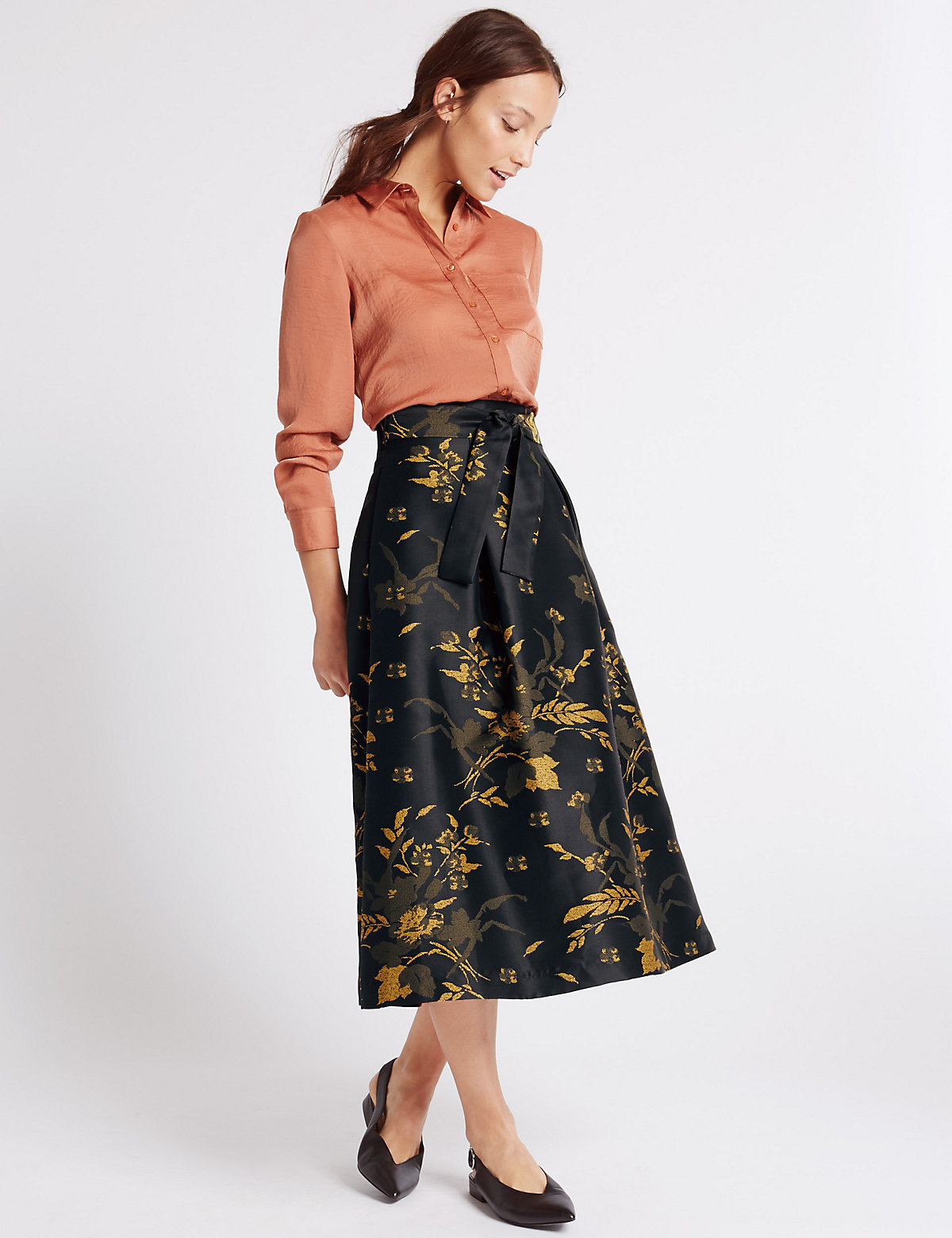 M&S Collection Floral Print A-Line Skirt