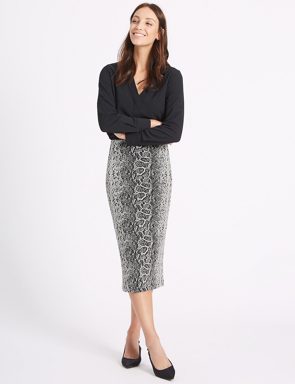 M&S Collection Snake Print Pencil Midi Skirt