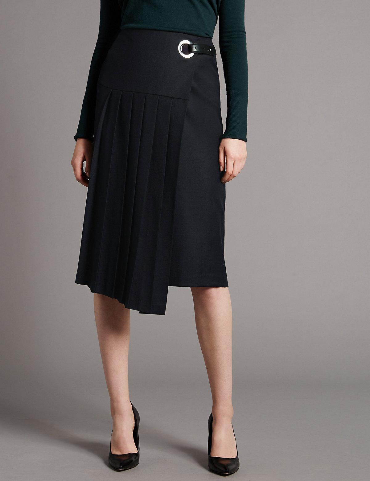 Autograph Kilt Pleat A-line Skirt With Wool