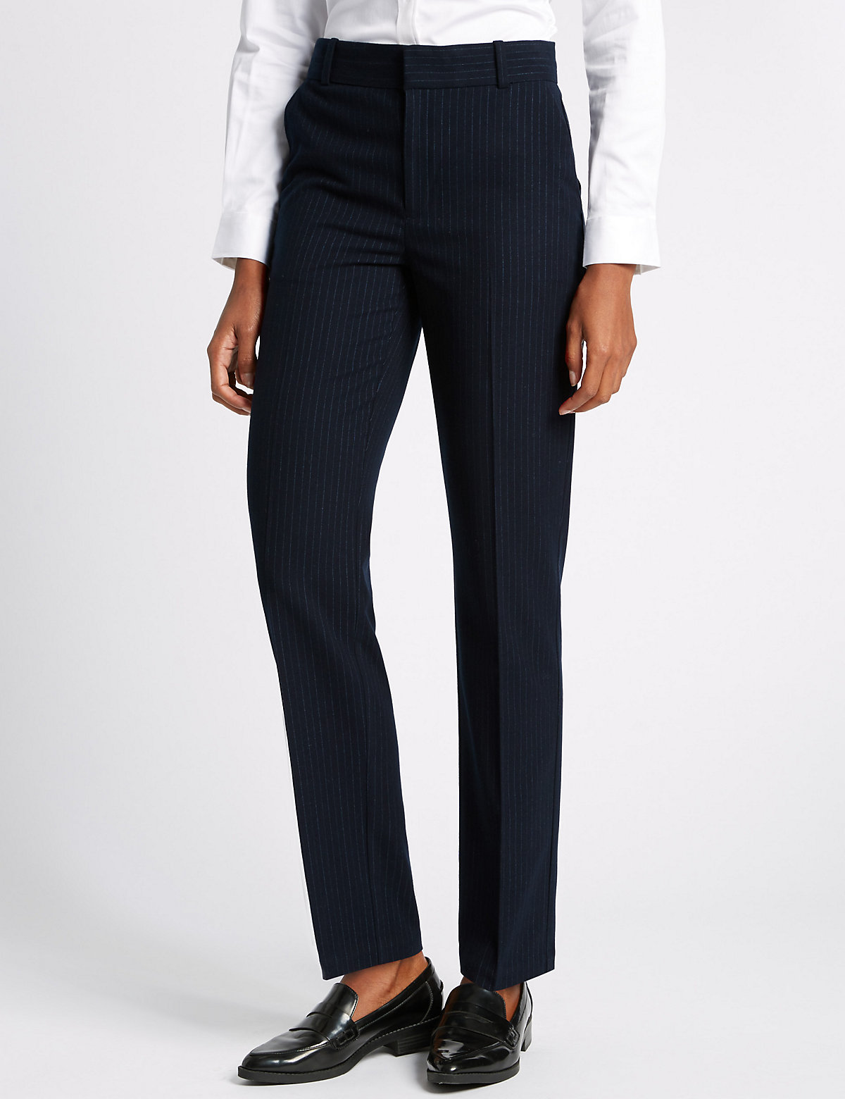 M&S Collection Pinstriped Straight Leg Trousers