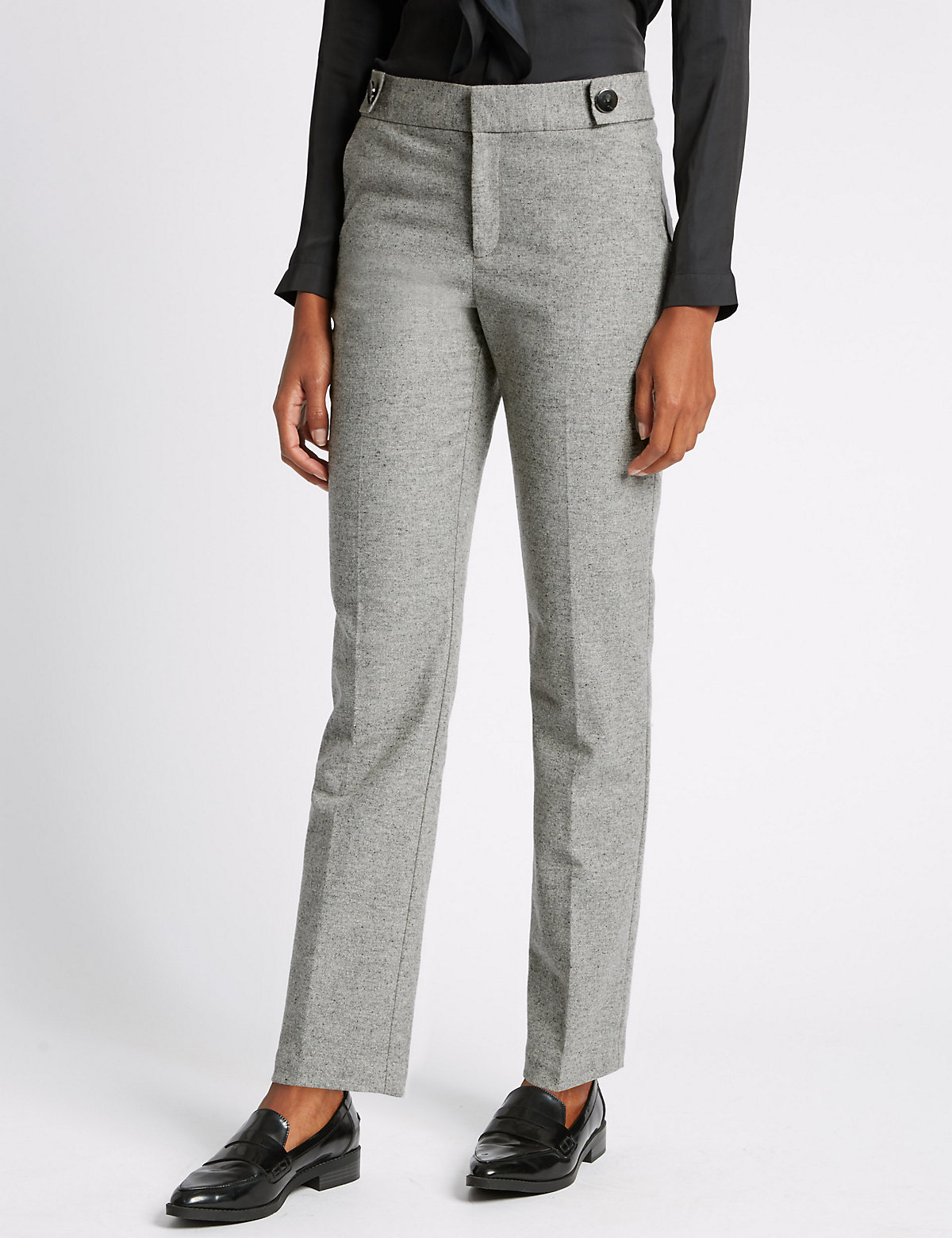 M&S Collection Straight Leg Speckled Trousers