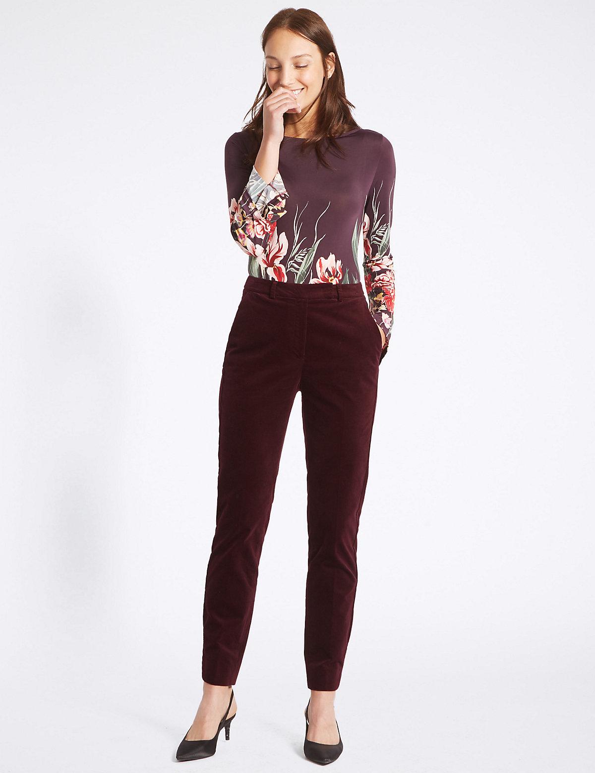 M&S Collection Cotton Rich Velvet Slim Leg Trousers