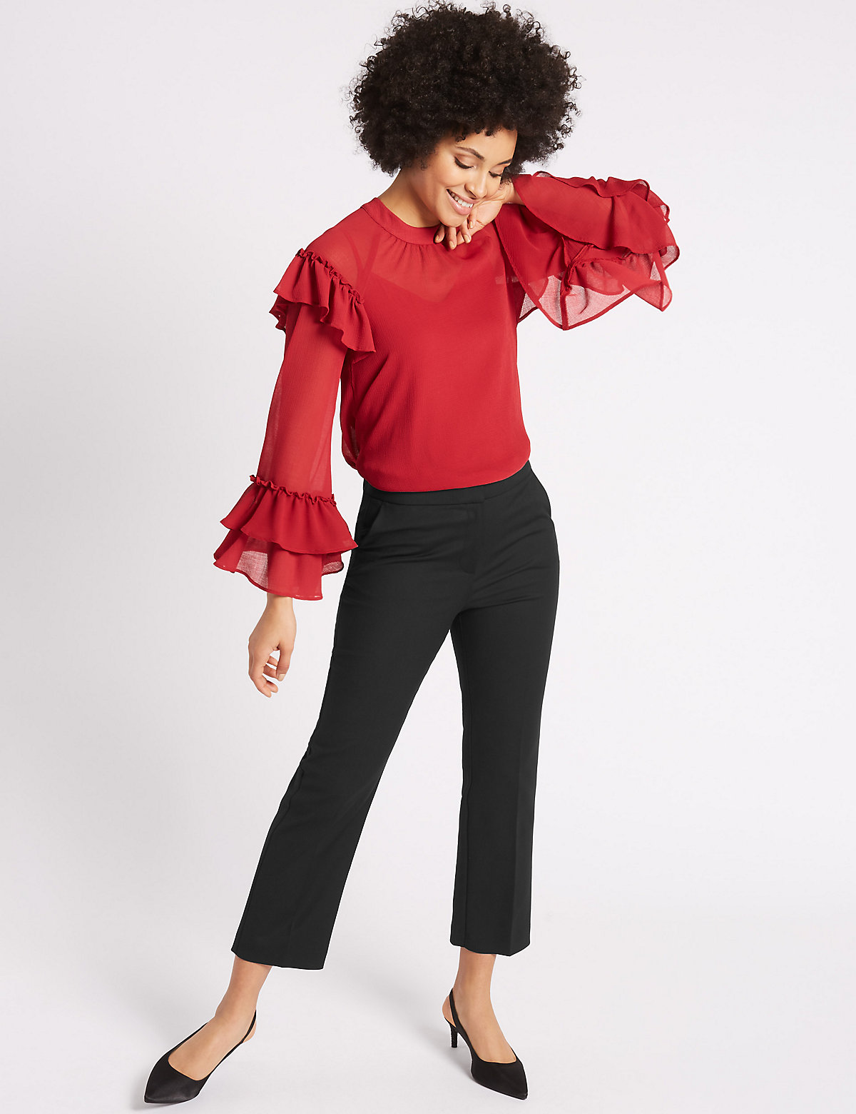 M&S Collection Elastic Back Cropped Straight Leg Trousers