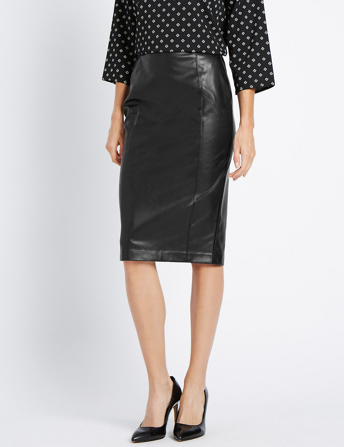 M&S Collection Slim Fit Faux Leather Pencil Skirt